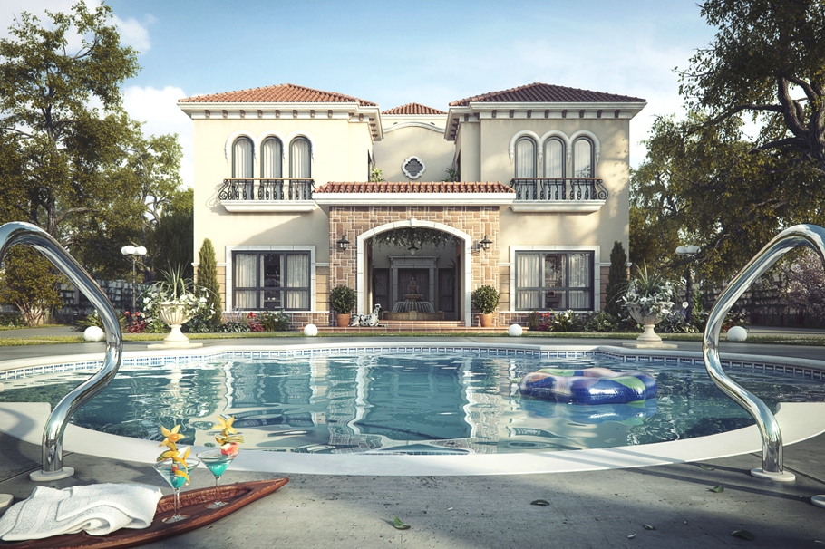 Luxury tuscan villa dubai adelto adelto for Pool design for villa