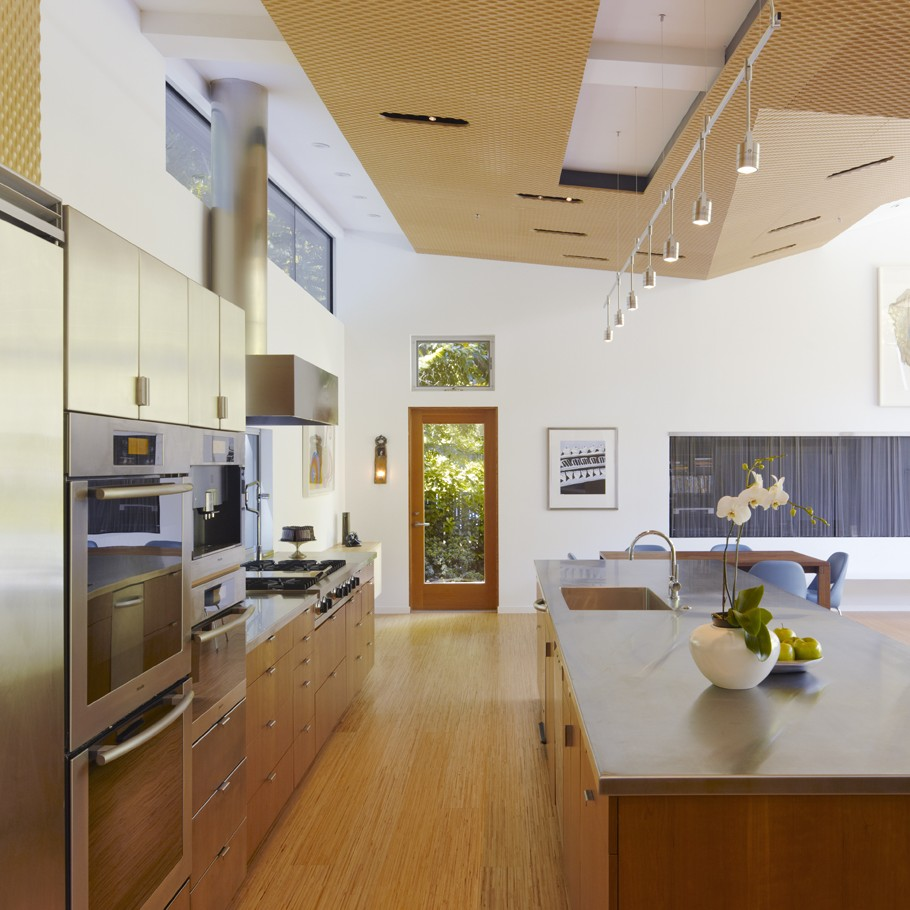 Kitchen Cabinets With High Ceilings: Luxury Home In A Forested Hillside, Town Of Ross, US